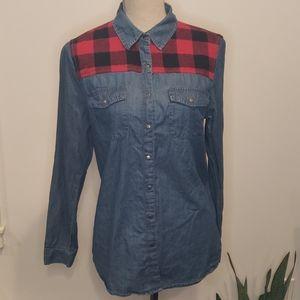 NWOT F21 Buffalo Plaid Denim 100% Cotton shirt